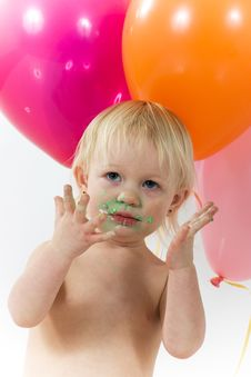 Free Messy Girl With Balloons Royalty Free Stock Photo - 4584115