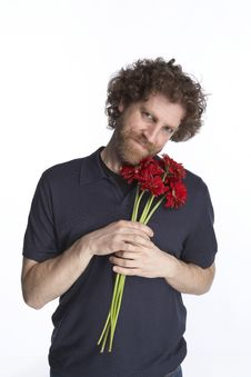 Free Man Holding Flowers Royalty Free Stock Photography - 4586137