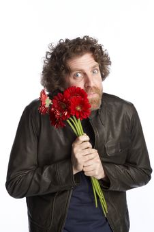 Free Man Holding Flowers Stock Photography - 4586192