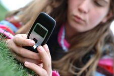 Free Young Girl And Cellphone Stock Photos - 4586223