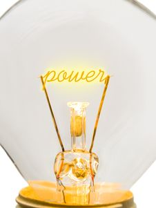 Free Word Power On Lamp Spiral Royalty Free Stock Photography - 4586227