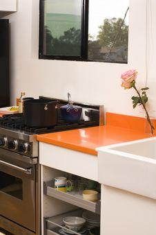 Kitchen Counter And Stove Stock Image
