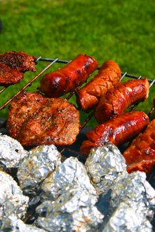 Free Sausages On A Barbecue Stock Images - 4588644