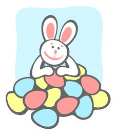 Happy Bunny And Easter Eggs