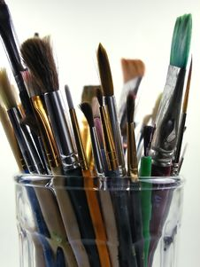 Paint Brushes-Light Background Royalty Free Stock Images