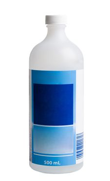 Free Medicine Bottle With Blue Label On A White Backgro Royalty Free Stock Image - 4593396