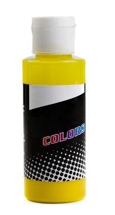 Free Bottle Of Coloured Paint Yellow On A White Backgro Royalty Free Stock Photography - 4593407
