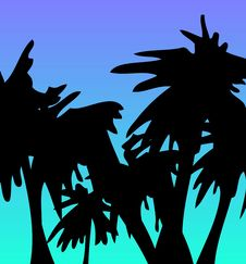Free Palm Trees On Sea Background Royalty Free Stock Image - 4593846