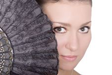 Face And Fan Royalty Free Stock Photography