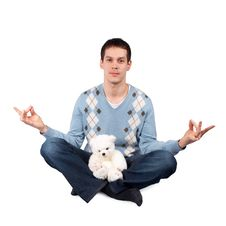 Young Man Sitting With Toy Stock Images