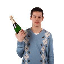 Free Young Man With Wine Stock Image - 4594281