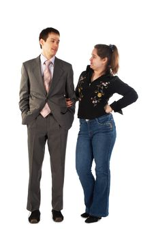 Free Young Businessman And Girl Look At Each Other Royalty Free Stock Photography - 4594317