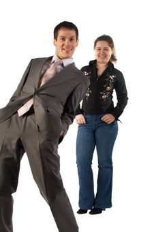 Free Young Businessman And Girl Grimacing Royalty Free Stock Photography - 4594327