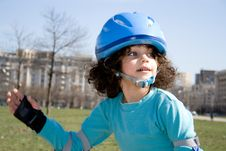 Little Girl Rollerblading Royalty Free Stock Images