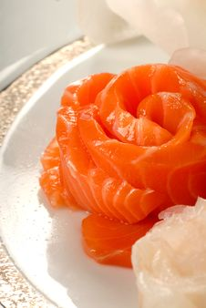 Asian Salmon Sashimi In The Shape Of A Flower Stock Photo