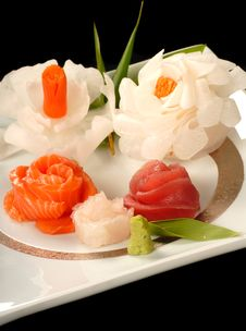 Free Platter Of Fresh Japanese Sashimi In Flower Shapes Stock Photos - 4595243
