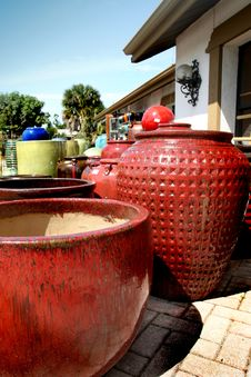Red Clay Pots Royalty Free Stock Photos
