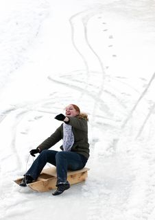 Free Excited Woman, Sliding Downhil Stock Images - 4596714