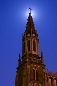 Church In The Night With Full Moon Royalty Free Stock Photo