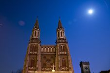 Free Church In The Night With Full Moon Royalty Free Stock Photo - 4597815