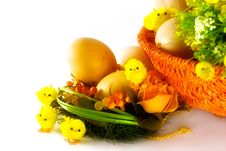 Easter Decoration - Eggs, Baby Chicks And Flowers Stock Photos