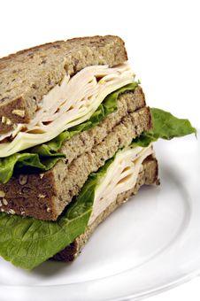 Turkey Sandwich On Whole Grain Bread Royalty Free Stock Photography