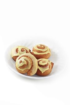 Cinnamon Rolls On A Plate Royalty Free Stock Images