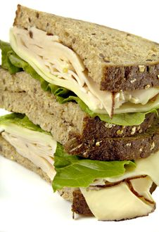 Turkey Sandwich On Whole Grain Bread Stock Image
