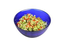 Vegetable Salad In Blue Salad Bowl On White Royalty Free Stock Photos
