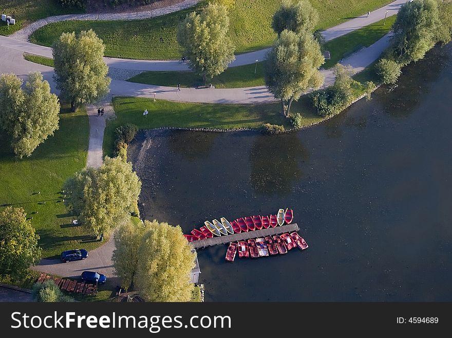 Boats at a mooring on lake.