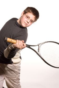 Free Boy With Tennis Racket Royalty Free Stock Images - 465409