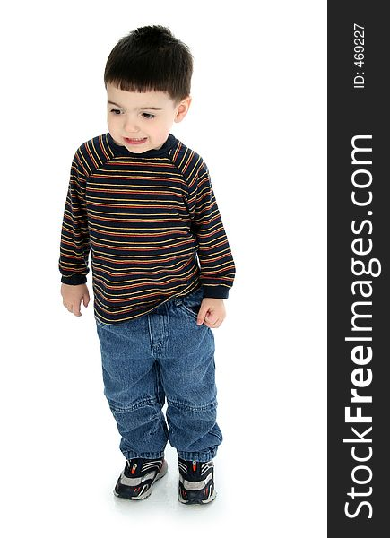 Adorable Toddler in Long Sleeve and Jeans
