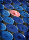 Free Pink Candle Surrounded By Blue Candles Royalty Free Stock Photography - 4608017
