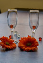 Free Two Wine-glass On A Table Near To A Flowers Royalty Free Stock Images - 4608759