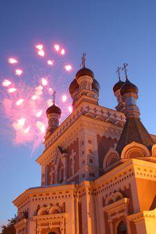 Free Celebratory Fireworks Behind Chirch Royalty Free Stock Image - 4600586