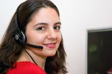 Free Beautiful Girl Customer Service With Microphone Stock Photo - 4601090