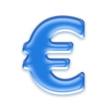 Aqua Euro Sign Royalty Free Stock Image