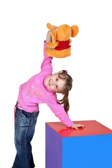 The Child Holds A Toy In A Hand Stock Photos