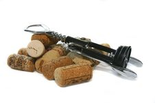 Corkscrew And Wine Corks Stock Images