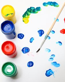 Free Brush And Many Paint Jars Stock Photo - 4603270