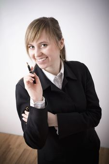 Free Woman With Pen Royalty Free Stock Image - 4603436