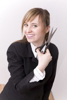 Free Woman With Scissors Royalty Free Stock Photography - 4603497