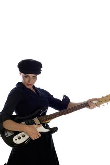 Guitar Playing Model Royalty Free Stock Photo