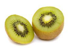 Fresh Kiwi Slices On White Royalty Free Stock Photos