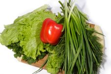 Free Red Pepper With Verdure Royalty Free Stock Photography - 4604857