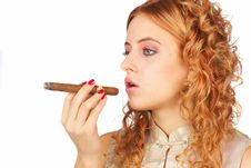 Free Blonde Girl With Cigar Royalty Free Stock Photos - 4606168