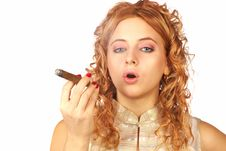 Free Blonde Girl With Cigar Royalty Free Stock Images - 4606169