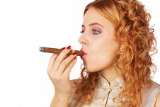 Free Blonde Girl With Cigar Stock Photography - 4606172