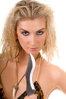Free Woman With A Knife Royalty Free Stock Photos - 4606198