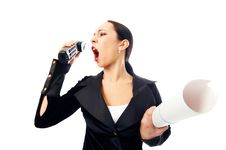 Free Business Woman Scream To Phone Royalty Free Stock Images - 4606899